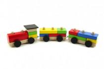 Vlak/mašinka + 2 vagóny skládací dřevo 47cm