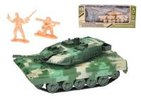 Tank kov 13 cm zpětný chod s vojáky na baterie se světlem a zvukem - mix barev