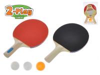 Sada na stolný tenis 2-Play pálky drevené 25 cm 2 ks + loptičky 3 ks