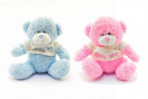 Medvěd v tričku růžový/modrý sedící plyš 12cm