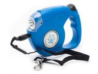 Vodítko lankové samonavíjecí s LED světlem pro malé a střední psy modré, Domestico