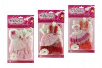Šaty / Oblečenie na bábiky 2ks s doplnkami na karte 21x30cm - mix variantov či farieb