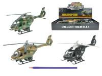 Helikoptéra vojenská 22 cm kov zpětný chod na baterie se světlem a zvukem - mix barev