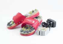 Vyhrievané masážne papuče s prírodnými kameňmi, červené, CatMotion