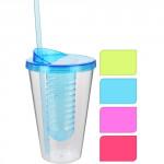 kelímek 0,55l plastový, brčko+vložka na led, ovoce - mix barev