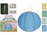 osvetlenie lampióny pr.28cm 1LED solárne, nylon - mix farieb