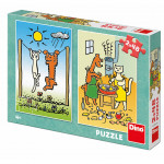 Dino puzzle Psík a mačička 2x48D