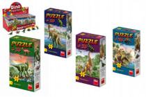 Puzzle Dinosaury 23,5x21,5cm 60 dielikov + figúrka - mix variantov či farieb