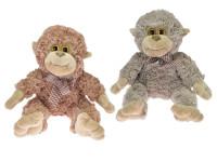 Opica plyšová 30 cm s mašľou - mix farieb