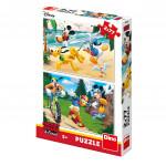 Puzzle 2x77 dílků: Mickey sportuje