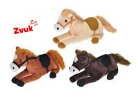 Kôň plyšový 25 cm ležiace na batérie so zvukom - mix farieb