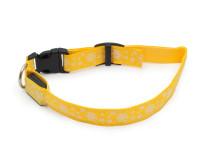 Svítící nylonový LED obojek s očkem na vodítko, žlutý s vločkami, Domestico