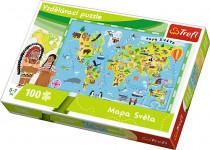 Vzdelávacie puzzle mapa sveta 100 dielikov 60x40cm