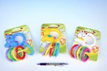 Chrastítko zvířátko na kartě 12x17cm - mix variant či barev