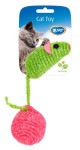 Hračka cat nylon Myš s loptičkou dôvo + 6 cm