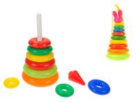Skladačka pyramída s krúžkami plast 28cm v sieťke 12m + - mix variantov či farieb