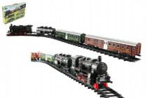 Vlak + 3 vagóny s kolejemi 24ks plast na baterie se světlem se zvukem