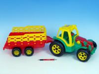 Traktor s vlekom plast 75cm - mix farieb