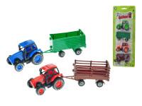 Traktor 8,5 cm spätný chod 2 ks s vlečkami - mix farieb