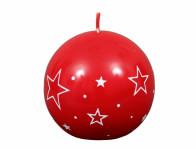 Sviečka BIELE HVIEZDY GUĽA vianočné lakovaná d6cm