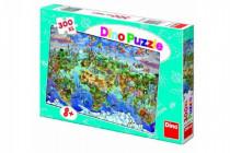 Puzzle Mapa sveta ilustrovaná 300XL dielikov 47x33cm v krabici 33x23x3,5