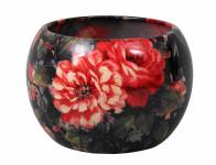 Obal na kvetináč MANES ROSA keramický čierny lesklý d16x16cm