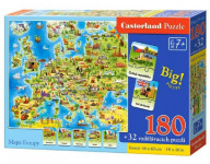 Puzzle Mapa Európy 180 dielikov + 32 puzzlí náučné 46x40cm