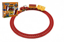 Vlak na kľúčik + 2 vagóniky s koľajami plast 7cm - mix farieb