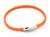 LED svítící vodotěsný silikonový obojek s USB nabíjením oranžový, Domestico