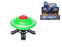 UFO 10 cm na zotrvačník na batérie so svetlom - mix farieb
