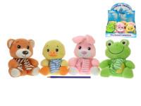 Zvieratko plyšové 15 cm sediaci so šálom - mix variantov či farieb