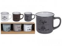 hrnček 330ml COFFEE keramický (3ks) - mix farieb