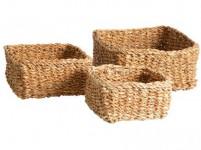 košík hranatý nízky veľký 26x26x12cm morská tráva
