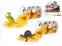 Dinosaurus 6 cm sa slizom v kelímku - mix variantov či farieb