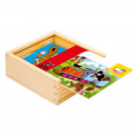 Skládačka Puzzle pro nejmenší Krtek dřevo 16ks v dřevěné krabičce