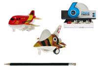 Letadlo 9 cm kov zpětný chod na baterie se světlem a zvukem - mix variant či barev