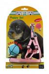 Postroj šteňa nylon + vodítko 15-30cm / 130cm ružové KAR
