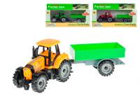 Traktor s vlečkou 19 cm voľný chod - mix farieb