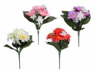 Kvetina GERBERA S ľalia kvet X7 4 + 3květy mix 23cm - VÝPREDAJ