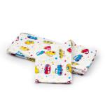 Dětská plena 70x80 cm, bavlněná flanelová, bílá s autíčky, 5 ks, Cuculo