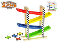 Dráha závodné 30x33x9,5 cm drevená s autami 4,5 cm 4 ks 2-Play