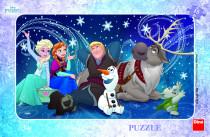 Puzzle Snehové vločky doskové 15 dielikov Frozen / Ľadové kráľovstvo 30x19cm