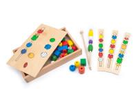 Navliekanie korálok - drevená montessori hračka