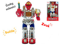 Robot česky hovoriaci 28 cm chodiaci na batérie so svetlom a zvukom