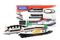Vlak + 3 vagóny s kolejemi plast na baterie se světlem