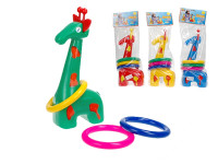 Žirafa plast 33cm s kroužky v sáčku 18m+ - mix barev
