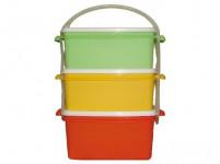 obedár 2x1,2l + 1x1,4l hranatý 17x15x20cm plastový - mix farieb