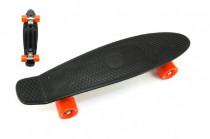 Skateboard - pennyboard 60cm nosnosť 90kg, kovové osi, čierna farba, oranžová kolesá