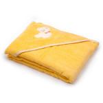 Dětská osuška s kapucí 100x100 cm, froté žlutá s medvídkem, Cuculo - VÝPREDAJ