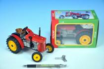 Traktor Zetor 25A červený na kľúčik kov 15cm 1:25 v krabičke Kovap
